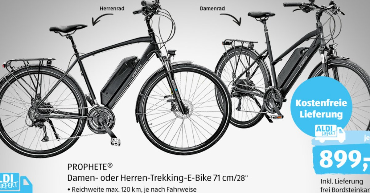 e bike ab morgen bei aldi f r 899 euro trekking pedelec. Black Bedroom Furniture Sets. Home Design Ideas